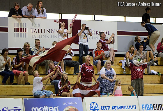 Latvian fans at the U16 European Championship Women Division B